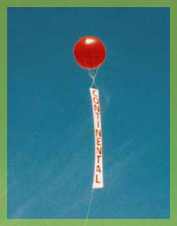advertising balloon - 8ft. helium balloon with 15ft. VERTICAL banner